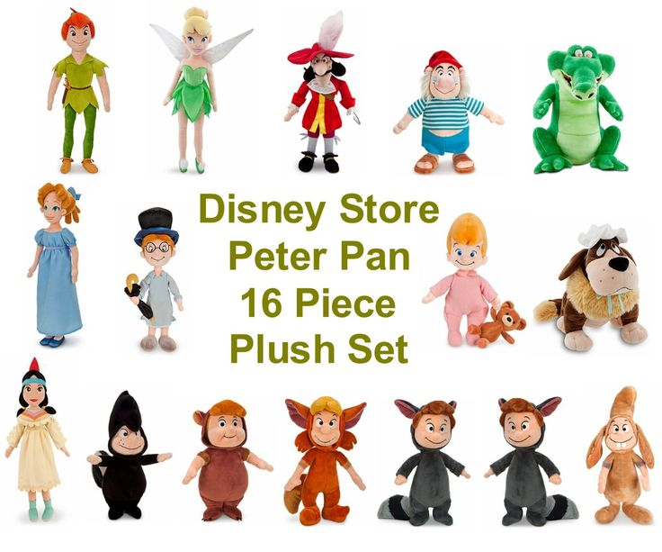 Amazon.com: Disney Store Peter Pan 16 Piece Plush Doll Stuffed Toy Gift Set Collection: Toys & Games