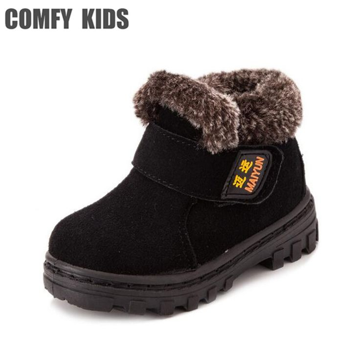 Comfy Kids  warm fashion child snow boots shoes for girls boys flat  boots thicken kids children leather snow boots shoes boys #Affiliate