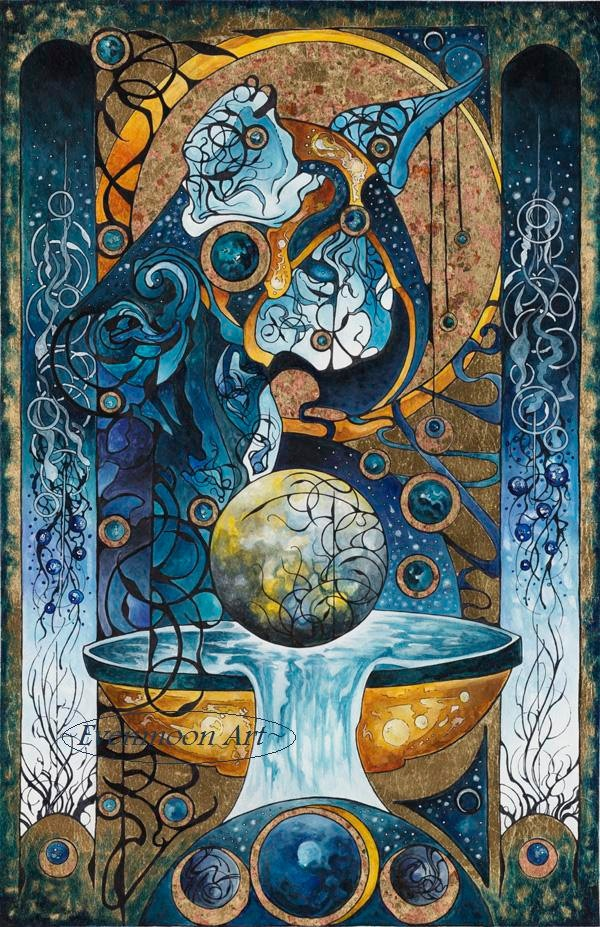Fantasy Art Nouveau Painting - Nautican, Keeper of Water  (16 x 20). $45.00, via Etsy.