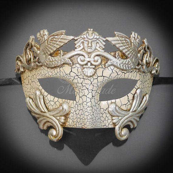 Herren Maskerade Maske, Karneval Maske, silberne Maske, Masquerade Ball Maske, römische Maske, griechische Gott Kostüm, Maskerade Maske Männer – Masks