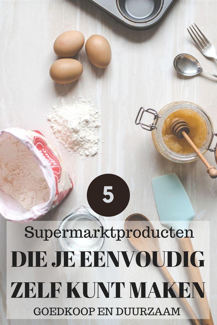 Een supermarkt is natuurlijk ontzettend handig, maar al die voorverpakte producten zijn niet duurzaam en vaak ongezonder en duurder dan de zelfgemaakte variant. Ik geef 5 tips voor producten die in elke supermarkt verkrijgbaar zijn, maar die je eigenlijk net zo makkelijk zelf kunt maken. Wel zo voordelig en duurzaam!