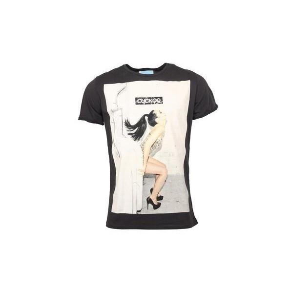 Černé tričko s rebelským potiskem Cuckoo's Nest Mensroom via Polyvore