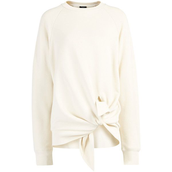 Joseph Loop Back Knot Sweater in ECRU found on Polyvore featuring tops, sweaters, ecru, white sweater, jersey tops, white top, white summer tops and tie top