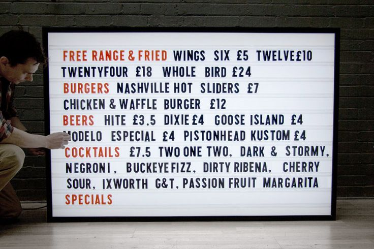 Custom Menu Light Box with Interchangable Letters – Goodwin & Goodwin™ - London Sign Makers