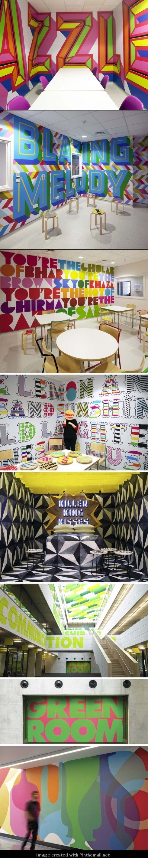 English designer Morag Myerscough creates environmental graphics combining a great sense of color with a great sense of typography www.vinylimpression.co.uk: