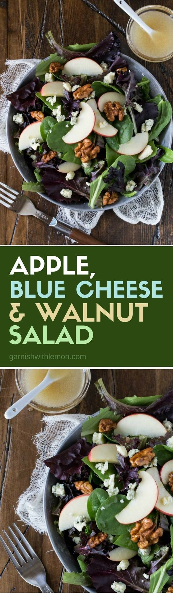 Salads don't have to be boring! One bite of this Apple, Blue Cheese and Walnut Salad and you will never buy bottled dressing again!