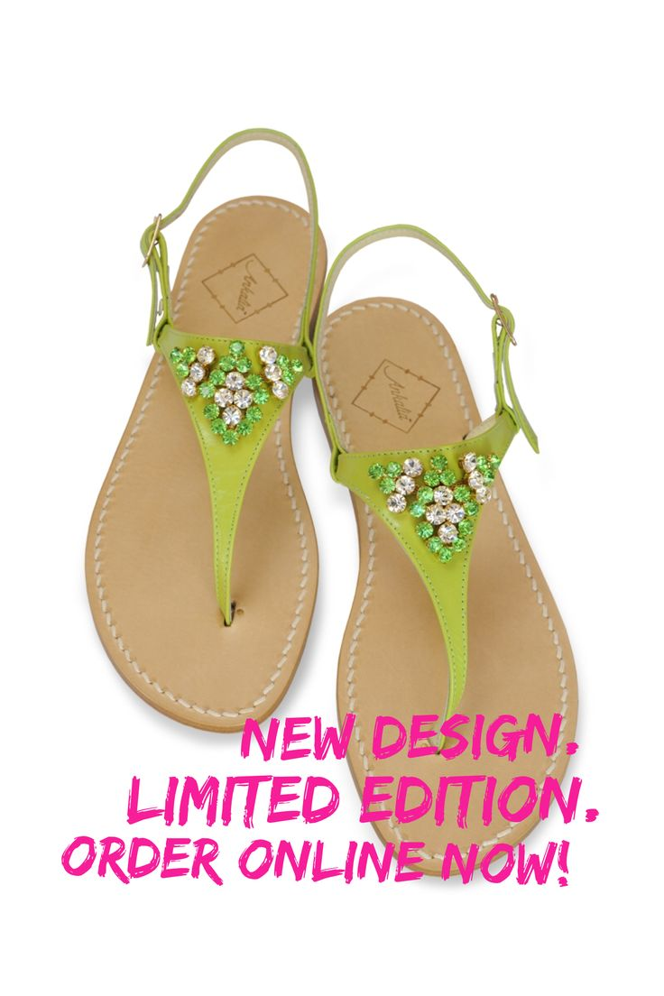 Amanda sandals in apple green embellished with Swarovski crystals. Available in flats or with a little 2cm heel. Worldwide shipping. #ankalia #amandasandals #greensandals #swarovksisandals