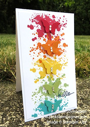 Hello Gorgeous Grunge Butterflies; Gorgeous Grunge meets Bitty Butterfly punch; Carol Lovenstein www.pinkstampagne.com; Stampin' Up! Card Idea