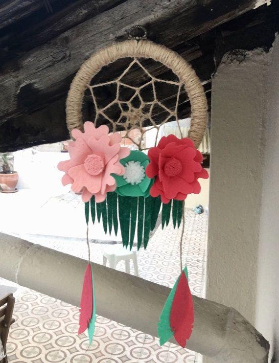 Boho-Filz-Blume-Traumfänger Dreamcatcher Hoop Wand Kunst von tkCo