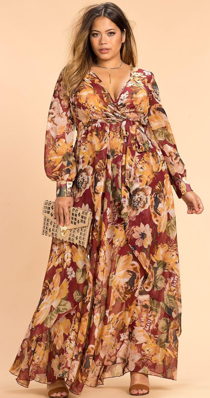 Plus Size Autumn Floral Maxi Dress