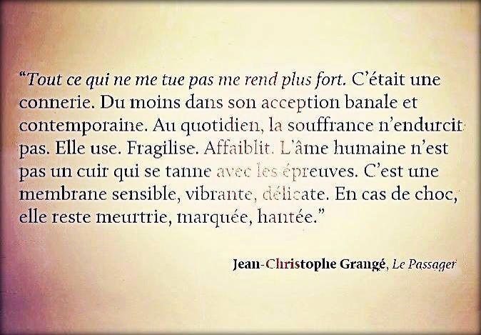 """""""Tout ce qui ne me tue pas me rend plus fort.."""" Jean-Christophe Grangé """"Le passager"""""""