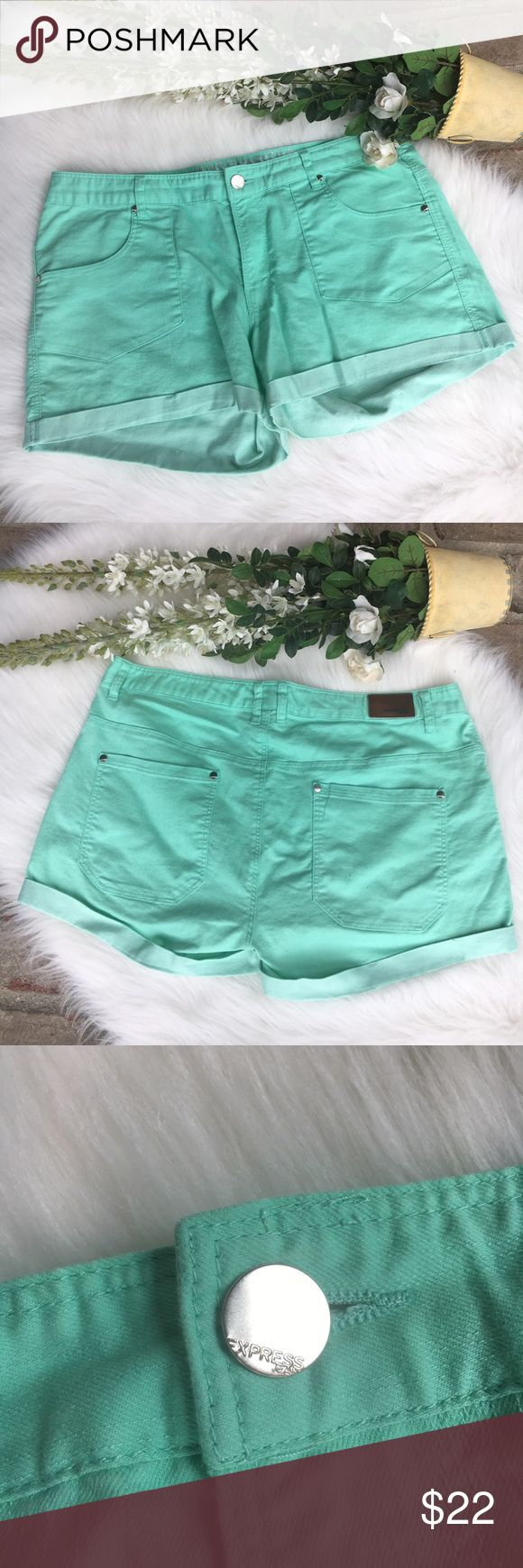Express Mint Green Denim Shorts NWOT mint shorts. True to size. Zip and button closure. 4 pockets total. Express Shorts Jean Shorts