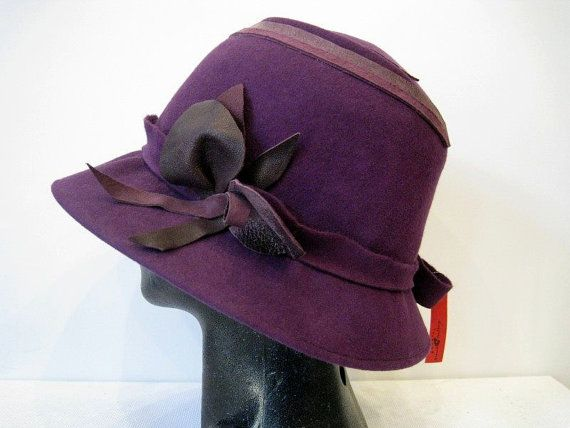 Hand made hat with a small brim. by DanuttaHandGallery on Etsy