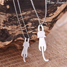 Caiga el envío 925 collares y colgantes de plata de plata lindo gato joyas collares Colar(China (Mainland))
