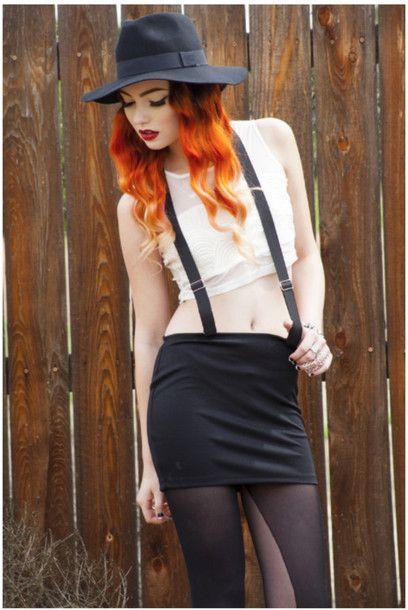 falda tirantes negros de la falda de las ligas falda falda con tirantes grunge inconformista hiphop