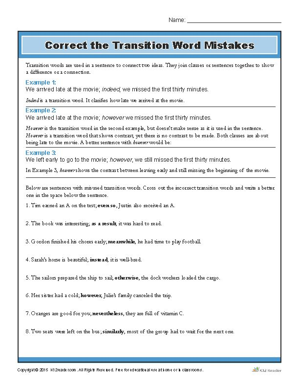 great extra practice for kids! Transition Words Worksheet - Correct the Mistakes www.k12reader.com