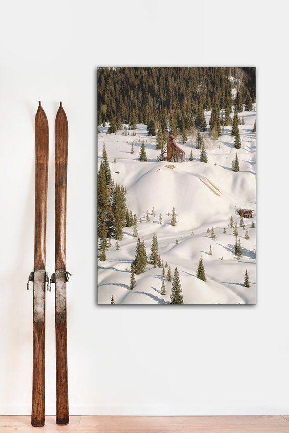 Winter Wall Art Colorado Mine Western Landscape Art Woodland Wall Decor Snow Scene Vertical Canvas Art Winter Wall Art Western Landscape Art Landscape Art