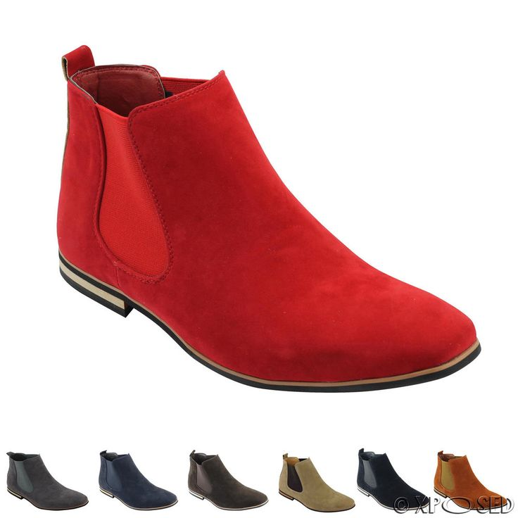 Mens Suede Chelsea Boots Italian Style Smart Casual Desert Dealer Ankle Shoes