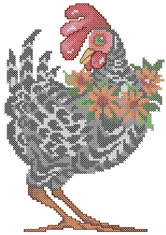 Machine Embroidery Cross Stitch Rooster Design