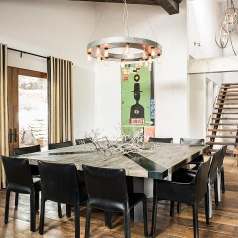 The Dining Rooms Enormous Square Table Comfortably Seats 12 Black Leather Chairs Matching
