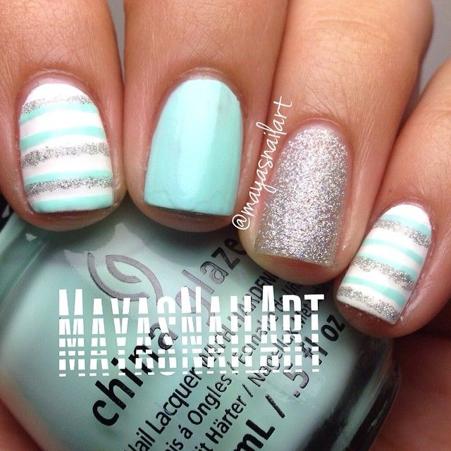 Pretty pastel blue with silver and white