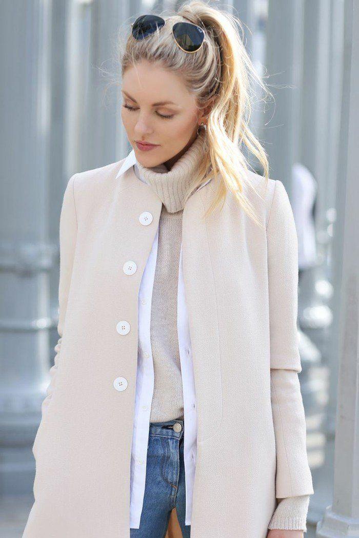 Manteau femme creme