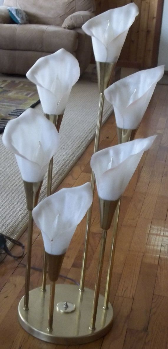 Hollywood Retro Calla Lilly Petalled Floor Lamp Torchiere