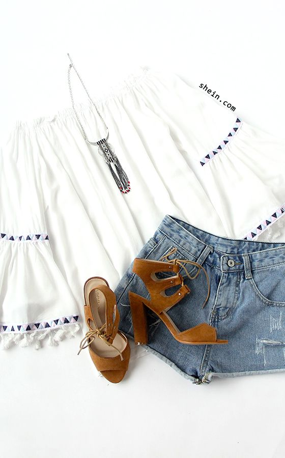 White Off The Shoulder Bell Sleeve Fringe Blouse