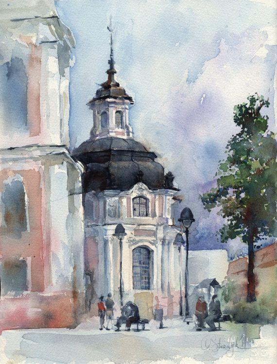 "Church watercolor painting - architectural painting original - Vilnius ""Church in Moniuskos skveras"" paper"