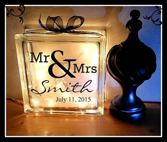This is a listing for one 8x8 personalized glass block. These blocks are heavy duty.  This is a perfect gift for the newly married couple.