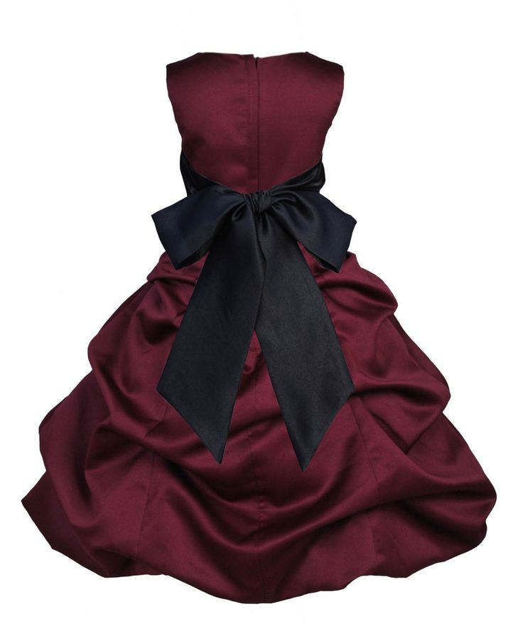 Burgundy Satin Pick up Beauty Pageant Bridesmaid Special Occasions Gown Flower Girl Dress 806s