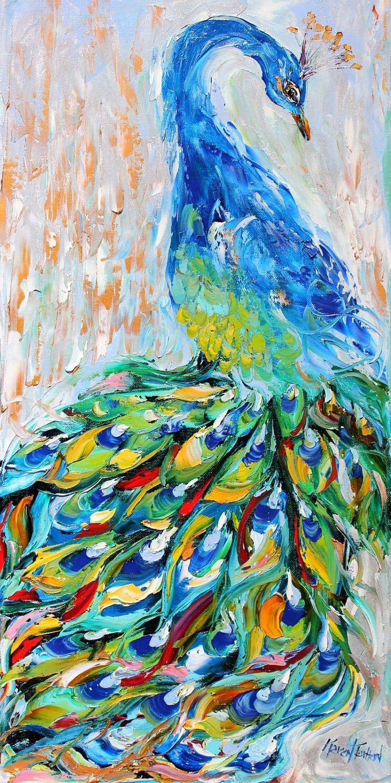 Fine art Print - Peacock - from oil painting by Karen Tarlton impressionistic palette knife fine art. $30.00, via Etsy.