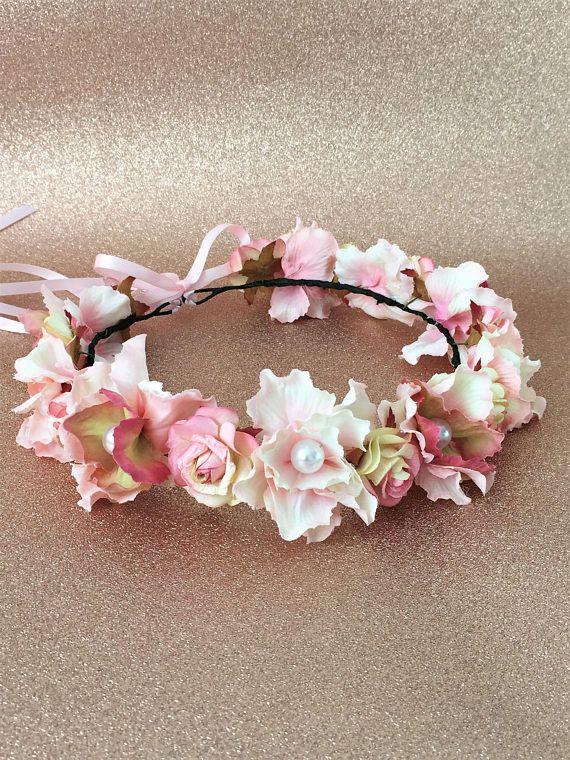Pearl flower crown Pink wedding crown Vintage Floral wreath