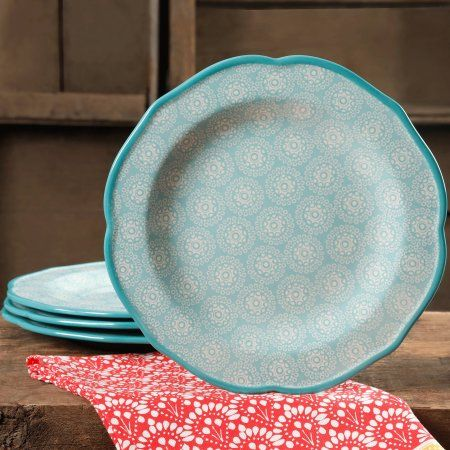 """Free 2-day shipping on qualified orders over $35. Buy The Pioneer Woman Hyacinth 10.5"""" Dinner Plate Set, Set of 4 at Walmart.com"""