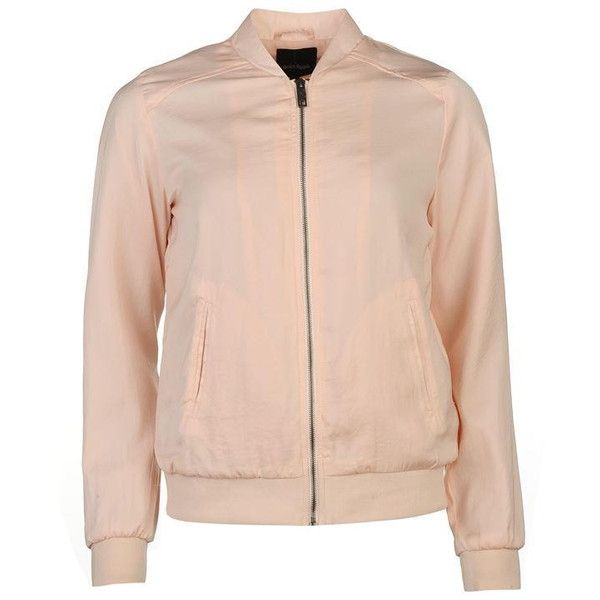 Golddigga Lightweight Bomber Jacket Ladies ($15) ❤ liked on Polyvore featuring outerwear, jackets, pink jacket, flight jackets, bomber jackets, pink bomber jackets and blouson jacket