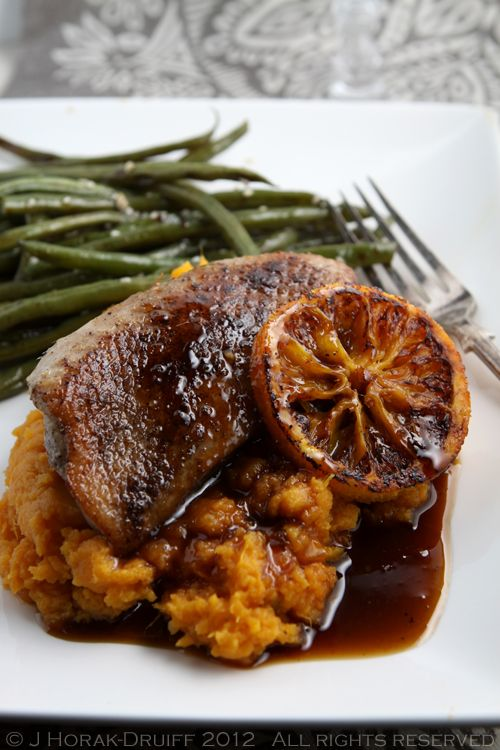 Mains/Entrees: Sous vide duck breasts with a charred orange and Cointreau sauce #Christmas #recipe #duck