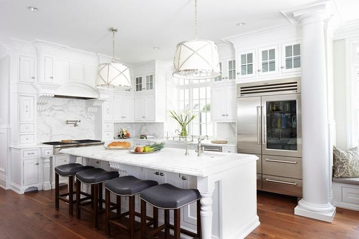 Add Your Kitchen With Kitchen Island With Stools: Island With Gray Leather Counter Stools With Nailhead Trim