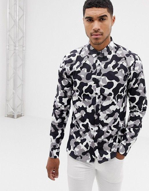 21bc93434015 HUGO Ero3 extra slim fit poplin shirt in snow camo print
