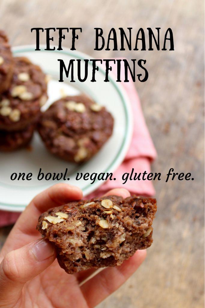 teff banana muffins. vegan. gluten free. one bowl.