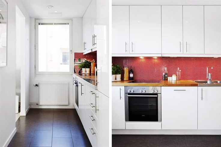 Stockholm Karlaplan kitchen red compact living before