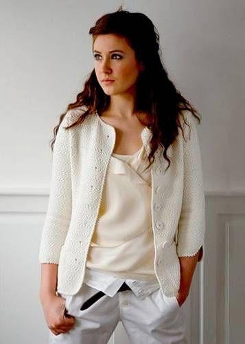 Классический белый жакет Lucy - 3 Кофты,свитера,пуловеры - Женская одежда - Каталог альбомов - SANA петелька