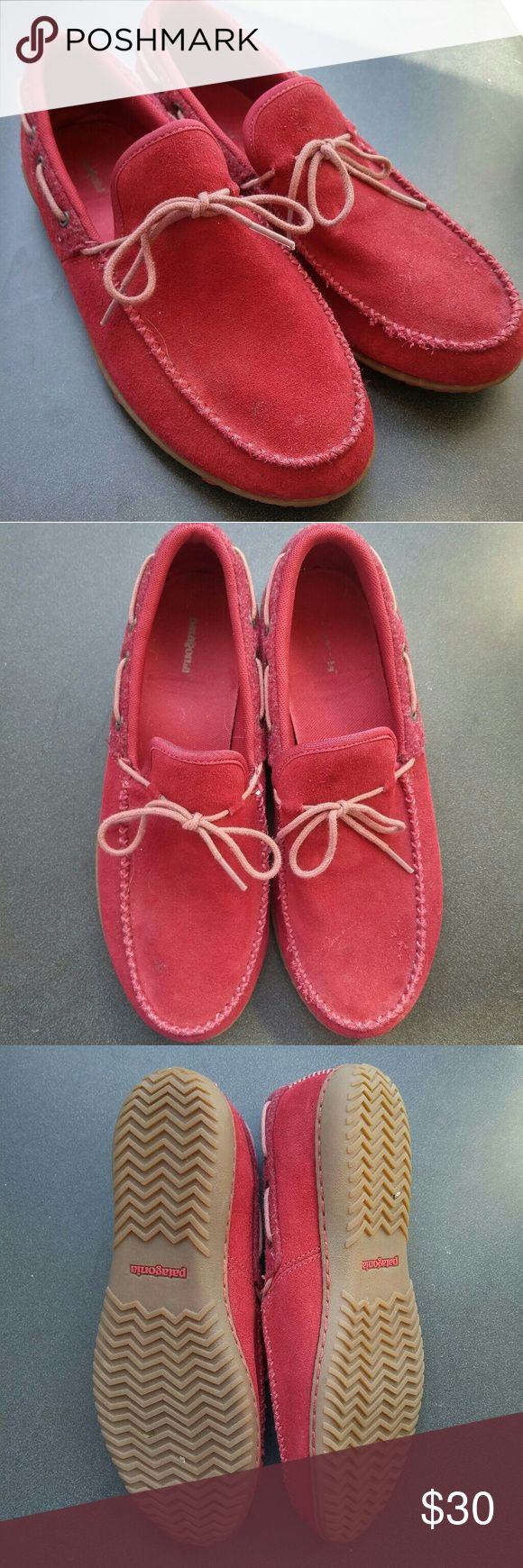 Patagonia Dark Earth Merrell Moccasins Rich red suede Patagonia moccasins with pink accent laces and stitching. Worn once or twice but are too big for me! They ar marked at an EU39 US 8.5 but fit more like a 9 or 9.5. There are 2 minor flaws in the suede as pictured.  Smoke free home shared with a small dog. Patagonia Shoes Moccasins