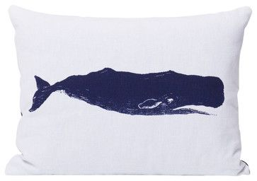 Navy Whale Pillow - beach-style - Decorative Pillows - BRIKA Inc.