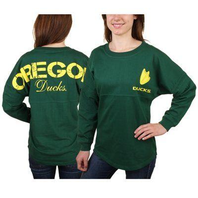 Oregon Ducks Women's Pom Pom Jersey Oversized Long Sleeve T-Shirt - Hunter Green