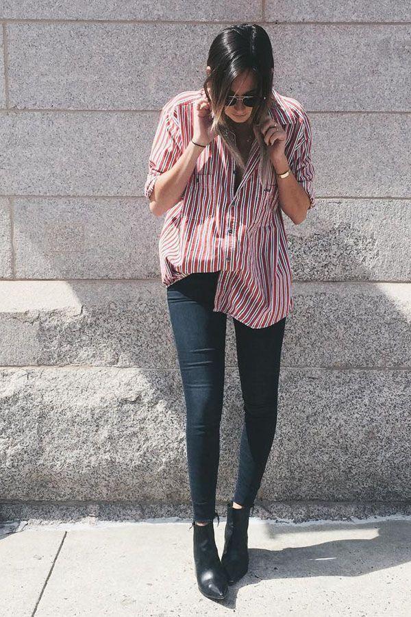 Na dúvida o combo skinny preta + camisa listrada + bota funciona sempre!