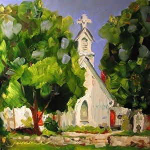 Grace Episcopal Church, Spring Hill, Tennessee by Susan E Jones Oil ~ 12 x 12   $324 Gifts