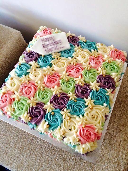 I like the different look of this rose swirl cake: Birthday Cake Flower, Buttercream Birthday Cake, Buttercream Cake, Floral Cake, Sheet Cake, Girl Birthday Cake