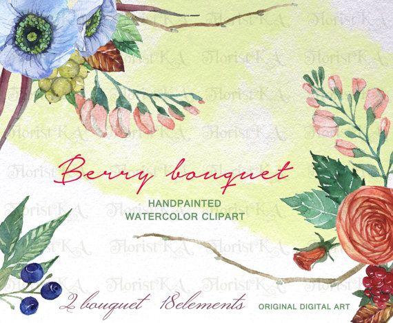 Berry Bouquet Rustic Clipart, Floral Clip Art, Handpainted Watercolor ...