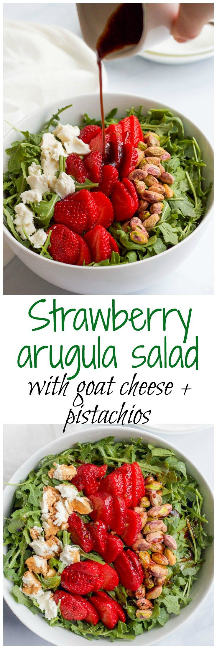 Baby arugula, strawberries, pistachios and goat cheese, with an easy homemade balsamic vinaigrette - great spring salad!   FamilyFoodontheTable.com