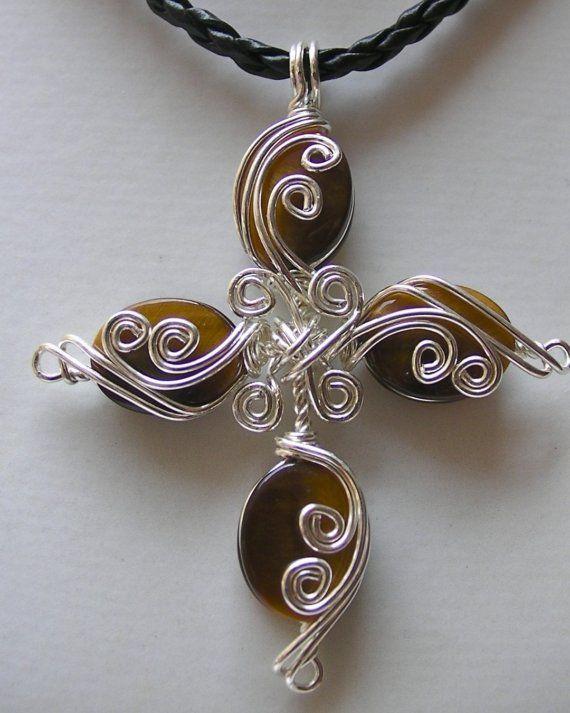 Golden Tigers Eye ... Cross ... Silver Wire by jjdesigns0489, $65.00